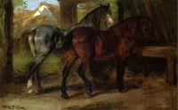 Две лошади в конюшне