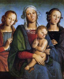 Перуджино Пьетро Мадонна с младенцем и Св. Роза со Св. Екатериной