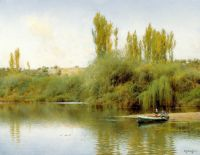 Берег річки Гвадайра з човном