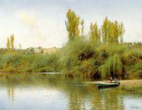 Берег реки Гвадайра с лодкой