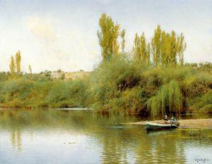 Санчес-Перье Эмилио Берег реки Гвадайра с лодкой
