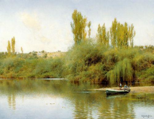 Берег реки Гвадайра с лодкой - изображение 1