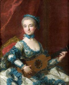 Ван Лоо Луи Мишель Портрет женщины, играющая на гитаре