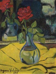 Постимпрессионизм Роза в стеклянной вазе