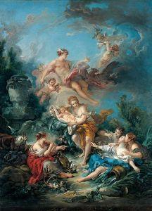 Буше Франсуа Меркурий вручает младенца Бахуса нимфе Нисе