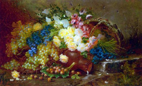 Натюрморт с виноградом и розами