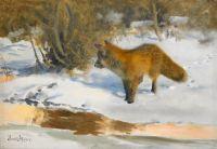 Зимний пейзаж с лисом