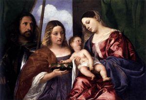 Вечеллио Тициан Мадонна с младенцем и святыми Дороти и Георгием