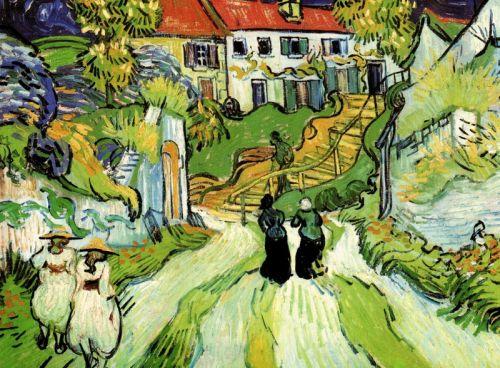 Сельская дорога и лестница в Овер с фигурами