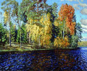 Лесное озеро. Золотая осень. (Синяя вода)
