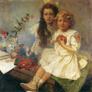 Муха Альфонс Ярослава и Иржи-дети художника
