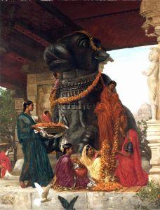 Принсеп Валентин Камерон Служанками Sivawara подготавливается священный бык на Танджоре для праздника
