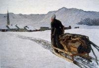 Крестьянка тянет дрова зимой