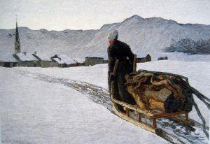 Символизм Крестьянка тянет дрова зимой