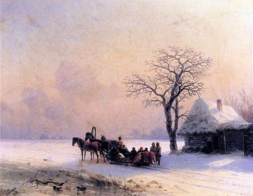 Зимняя сцена в Малороссии