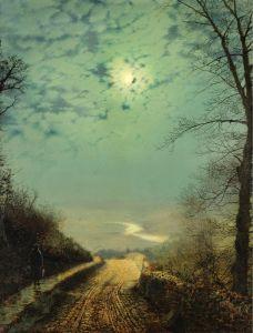 Мокрая дорога к Варфедайлу в лунном свете