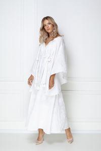 Одежда из льна «Виктори Шик» белое платье-макси