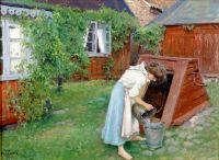 Мотив из сада в Бастад - девушка берет воду
