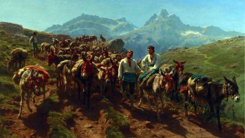 Испанские погонщики, пересекающих Пиренеи