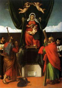 Лотто Лоренцо Мадонна с младенцем на троне с четырьмя святыми