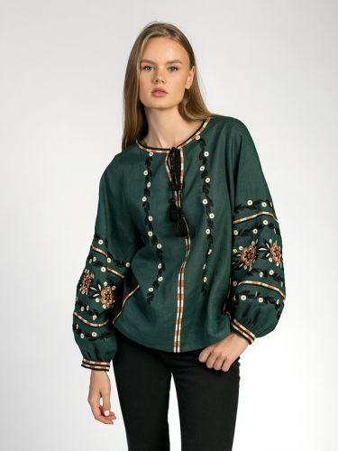 Темно-зеленая вышиванка со льна Hvoya
