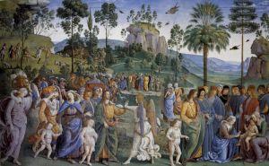Перуджино Пьетро Путешествие Моисея и обрезание второго ребенка