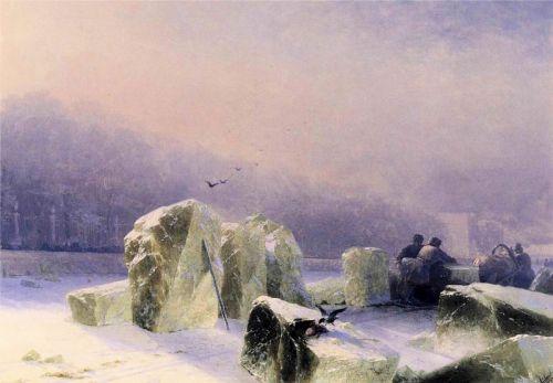 Ледорубы на замерзшей Неве в Санкт-Петербурге