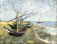 Рыбацкие лодки на побережье в Ле Сент-Мари-де-ла-Мер