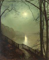 Лунный свет на озере Раундхей парка, Лидс