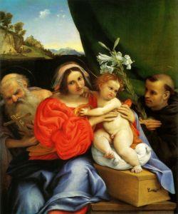 Лотто Лоренцо Мадонна с Св. Иеронимом и Св. Антонием Падевским