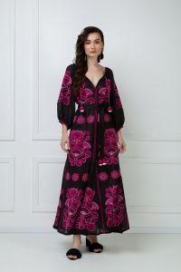 Одежда из льна «Виктори Шик» черное платье-макси