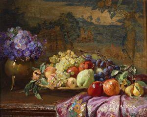 Шарлемон Гуго Натюрморт с фруктами и букетом цветов
