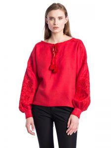 Червона жіноча вишиванка з пишними рукавами Red Bird