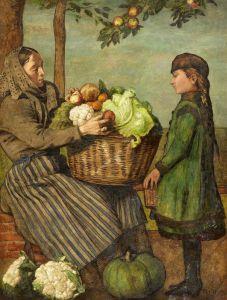 Тома Ганс Бабушка с корзиной овощей и внучка