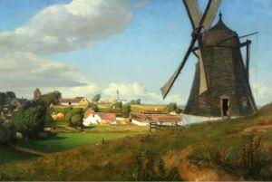 Брендекильде Ганс Андерсен Пейзаж с ветряной мельницей и домами