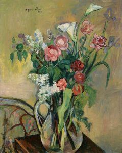 Постимпрессионизм Букет цветов в стеклянной вазе