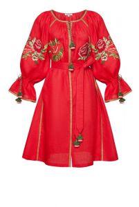 """Вишиті сукні """"Флора"""" червона міні сукня"""