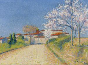 Ложе Ашиль Цветущие миндальные деревья неподалеку Кельо (Франция)