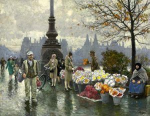 Фишер Поль Густав Продавцы цветов у моста королевы Луизы в Копенгагене