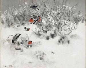Лильефорс Бруно Зимний пейзаж с cнегирями