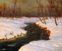 Снежный пейзаж с рекой на закате