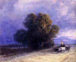 Айвазовский Иван Телега с волами пересекает затопленную равнину