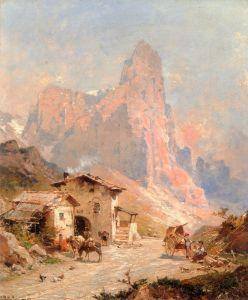 Деревня в Доломитовых Альпах, Италия