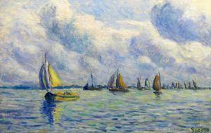 Лодки на реке Маас в Роттердаме