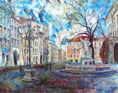 Ранняя весна. Львов. Площадь Рынок. Фонтан Нептун