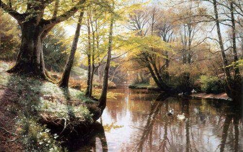 Речной пейзаж в весеннее время