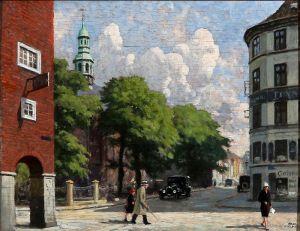 Фишер Поль Густав Летний день у Реформаторской церкви в Копенгагене