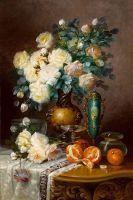 Белые розы, апельсины, и фарфоровая урна