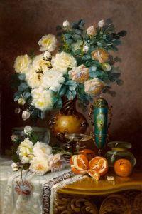 Карлье Макс Белые розы, апельсины, и фарфоровая урна