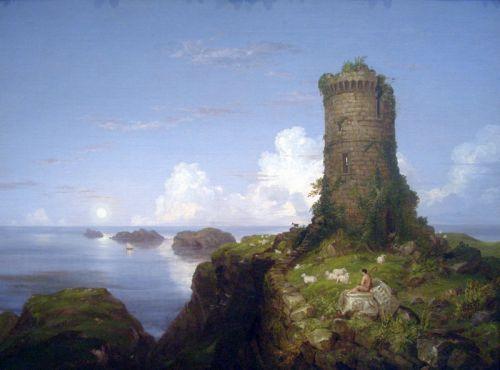 Вид на итальянское побережье с разрушенной башней